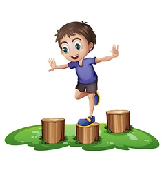 A young boy above the stump vector image vector image