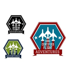 Flight adventures emblem or label vector image vector image