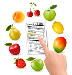 Fresh fruit with a nutrition facts label and hand vector image