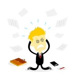 Stressed bussiness man holding head vector