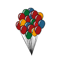 bunch balloons decoration celebration party vector image vector image