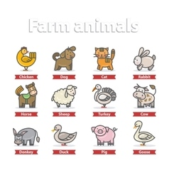 Farm animal icon set vector image