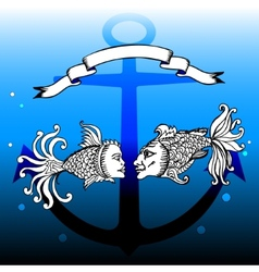 fishes with man and woman faces vector image vector image