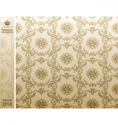 seamless flower wallpaper pattern beige vector image vector image