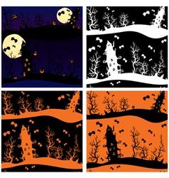 Set of seamless patterns - Halloween night mystery vector image