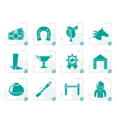 Stylized horse racing and gambling icons vector