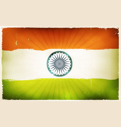 vintage india flag poster background vector image vector image