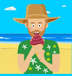young man eating ice cream at the tropical beach vector image