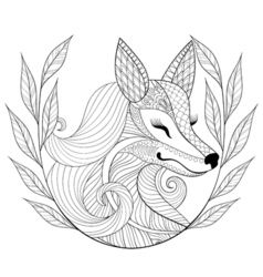 Zentangle Fox face in monochrome doodle style Hand vector image vector image