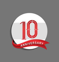 10 anniversary with white circle and red ribbon vector