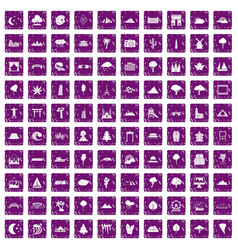 100 view icons set grunge purple vector image