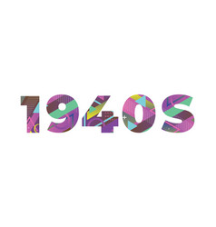 1940s concept retro colorful word art vector