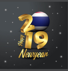 2019 happy new year thailand flag typography vector