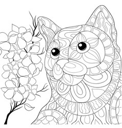 Adult coloring bookpage a cute cat imagezen art vector