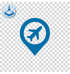 Airport with pin icon vector
