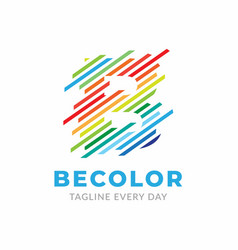 B colorful logo design template vector