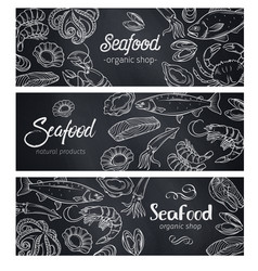 Banners seafood chalkboard vector