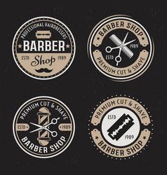 Barber shop set four colored vintage vector
