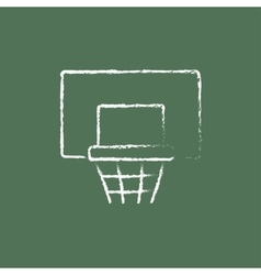 Basketball hoop icon drawn in chalk vector image