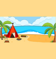 beach landscape scene with tent camping vector image