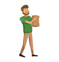bearded man with shopping bag vector image