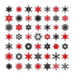 big collection of elegant black and red snowflakes vector image
