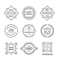 Black outline handmade labels set vector