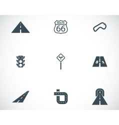 black road icons set vector image