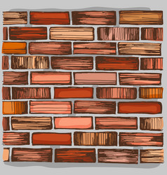 Brown brick wall and brickwork vector