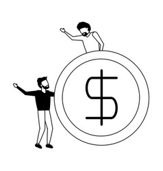 business men holding dollar coin vector image
