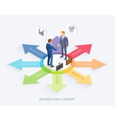 businessman handshake on arrow infographics vector image