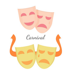 Carnival drama masks symbols of theatre play vector