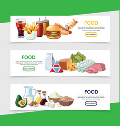 cartoon food horizontal banners vector image