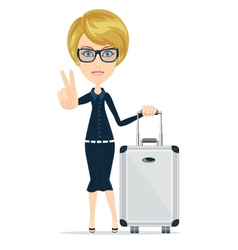 Cartoon woman with luggage vector image