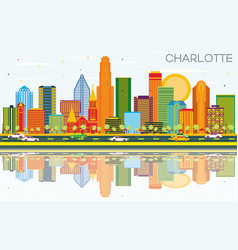 charlotte north carolina city skyline with color vector image