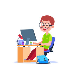 child at computer cartoon boy learning at desk vector image