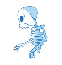Comic skeleton human walk character vector