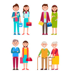 Couples set of different ages vector
