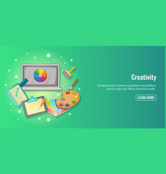 Creativity banner horizontal man cartoon style vector