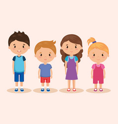 Cute and little kids group vector