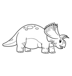 cute cartoon dinosaur triceratops character vector image