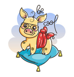 Cute cartoon golden baby pig in a cool sunglasses vector