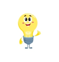 Cute light bulb character with funny face showing vector image vector image