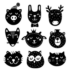 cute set of black and white animals heads drawing vector image