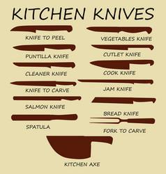 cutting knives set poster butcher diagram vector image
