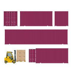 different types of container and forklift side vector image