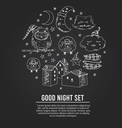 doodle set images about good night vector image