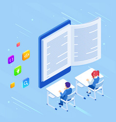 e-learning online education at home isometric vector image