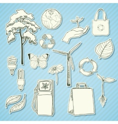 Ecology and environment stickers white vector image