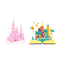 fairytale castles open book with fairy tale vector image